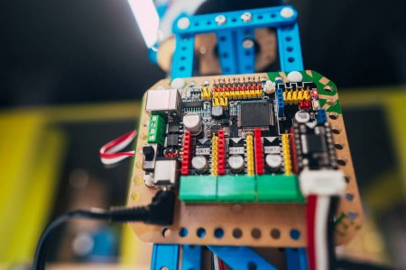 Photo for Electronic circuit board with processor and wires, close view - Royalty Free Image