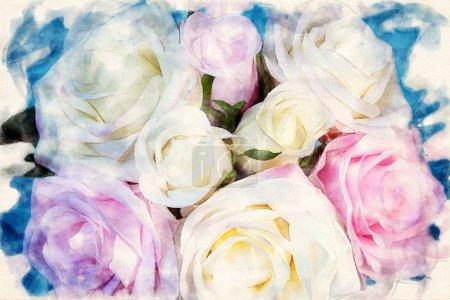 Nahaufnahme eines Straußes Rosen auf blauem Hintergrund