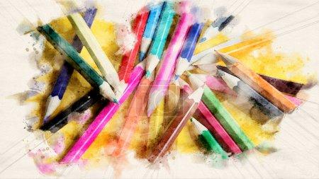 Foto de Primer plano de lápices de colores sobre fondo amarillo en acuarelas - Imagen libre de derechos