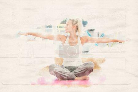 Photo pour Femme blonde faisant du yoga dans son salon à l'aquarelle - image libre de droit
