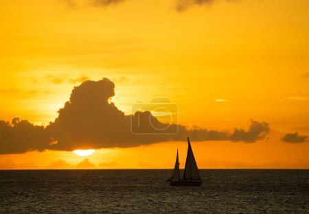Photo for Sailing at sunset Views around the tropical  Caribbean island of Curacao - Royalty Free Image