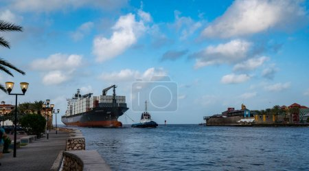 Photo for Cargo ship in the port of miami, florida - Royalty Free Image