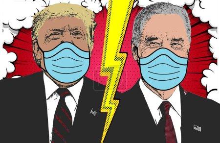 Photo pour Trump-Biden combat, match final, dans le contexte de l'épidémie mondiale de coronavirus covid 19. Trump masqué, Biden masqué. Elections américaines 2020, candidats au second tour, propositions sur la crise sanitaire. - image libre de droit