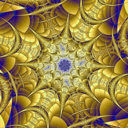 Photo for Yellow fractal flower, digital artwork graphic - Royalty Free Image