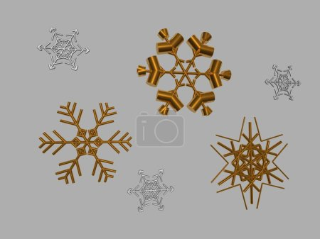 Photo for Set of vector snowflakes on a gray background - Royalty Free Image