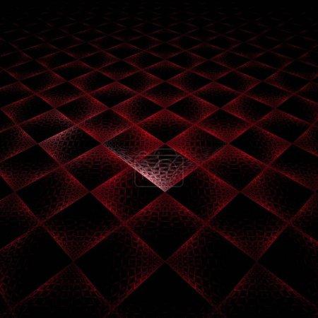 Photo pour Texture de sol carrelé rouge sur fond noir - image libre de droit