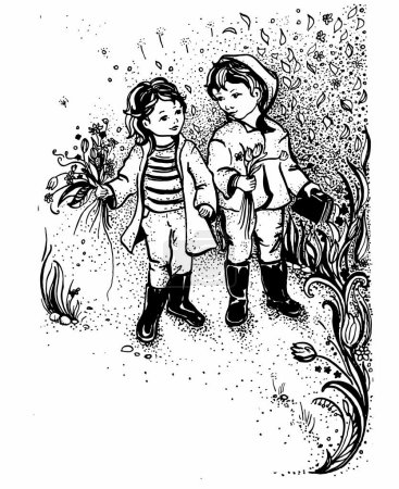 Illustration for Graphic sketch, vector illustration of kids walking cute. Friendship between a boy and a girl - Royalty Free Image