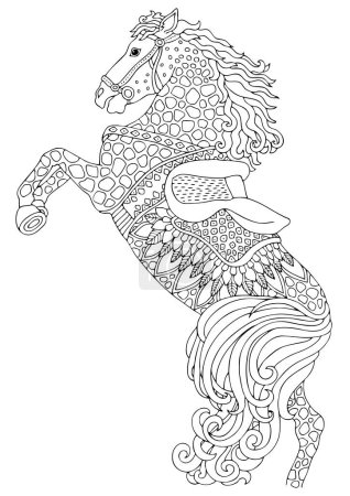 Illustration for Jumping horse. Hand drawn picture. Sketch for anti-stress adult coloring book in zen-tangle style. Vector illustration for coloring page. - Royalty Free Image