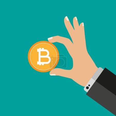 Hand holding bitcoin. Business concept....