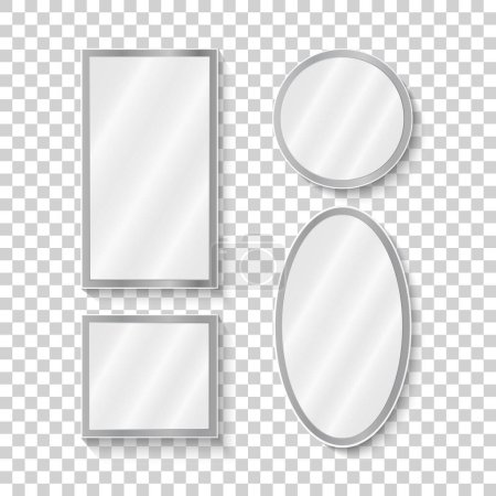 Illustration for Mirrors set in different forms with blurry reflection. Vintage and modern mirrors. Vector - Royalty Free Image