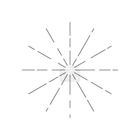 Illustration for Sun burst, star burst sunshine line. Vector illustration. Icon black on white. Design element for logo, signs. Dynamic style. Abstract explosion, speed motion lines from the middle, radiating sharp. - Royalty Free Image