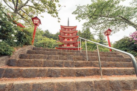 Chureito Pagoda in the morning front view