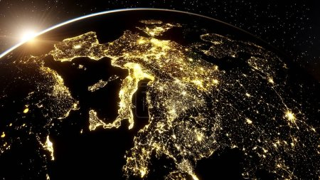 Photo pour Nuit réaliste Italie de l'espace, Venise de l'espace, nuit Sicile de l'espace, Europe centrale la nuit, nuit Rome du satellite rendu 3D - image libre de droit