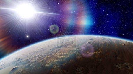 Photo pour Fond de l'espace, belle planète dans l'espace lointain, fond de l'espace pour la conception, espace extérieur, planètes dans la science-fiction, exo-planète, planète semblable à la terre - image libre de droit
