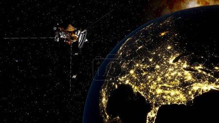 Photo pour Satellite réaliste en orbite de la Terre, satellite artificiel de télécommunications, communications par satellite à partir de l'orbite de la Terre, sonde en orbite de la Terre rendu 3d - image libre de droit