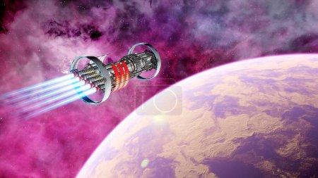 Photo pour Vaisseau spatial vole près de l'exoplanète, vaisseau spatial du futur dans l'espace, ufo, vaisseau spatial dans l'espace rendu 3D - image libre de droit