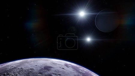 Photo pour Planète super-terrestre, exoplanète réaliste, planète propice à la colonisation, planète semblable à la terre dans l'espace lointain, fond de planètes rendu 3d - image libre de droit