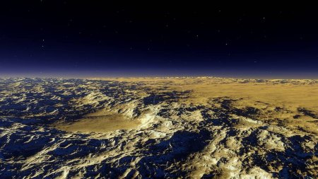Photo for Beautiful view from an exoplanet, a view from an alien planet, a computer-generated surface, a fantastic view of an unknown world, a fantasy world 3D render - Royalty Free Image