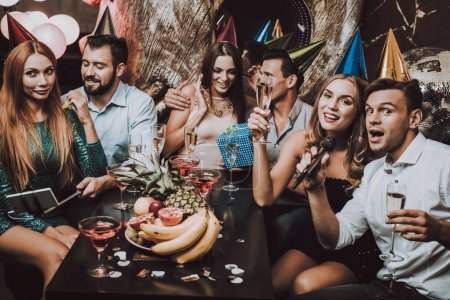 Birthday Song. Great Mood. Have Fun. Champagne. Balloon. Trendy Modern Nightclub. Celebration. Young People. Karaoke Club. Smiling Girl. Bar. Handsome Men. Beautiful Girls. Holidays Concept.