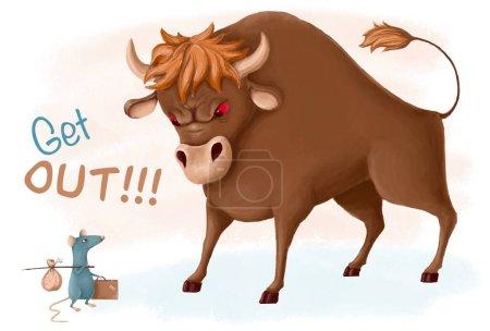 Photo pour Le taureau, symbole de la nouvelle année, bannit le rat, symbole de l'année dernière, illustration drôle dessinée à la main - image libre de droit