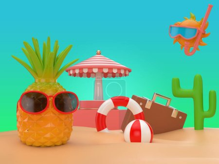 Photo for 3d illustrate bright colorful summer background - Royalty Free Image