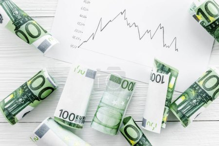 Photo for Diagram of stock market prices rates with euro banknote top view. - Royalty Free Image