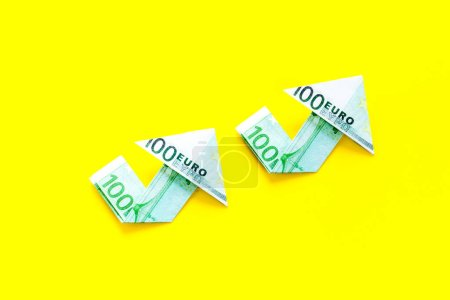 Photo for Isolated euro chart on yellow background. Currency trading concept. - Royalty Free Image