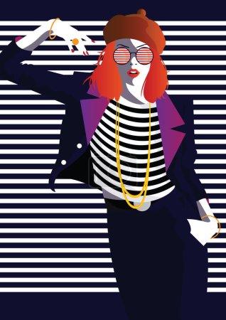 Illustration pour Femme de mode dans le style Pop art. Illustration vectorielle - image libre de droit