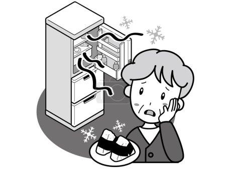 Illustration pour Mamie en difficulté parce que la nourriture dans le réfrigérateur gèle - image libre de droit