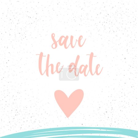 Illustration for Handwritten lettering on white. Doodle handmade save the date quote and hand drawn heart for design t-shirt, wedding card, bridal invitation, valentine's day brochures,  scrapbook, album etc. - Royalty Free Image