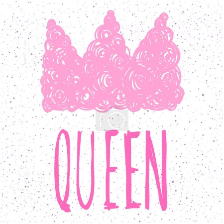Illustration for Queen. Handwritten lettering and handmade doodle pink crown for design card, invitation, t-shirt, book, banner, poster, scrapbook, album etc. - Royalty Free Image