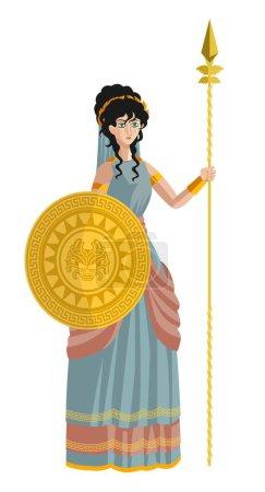 Illustration pour Palas athena minerva déesse mythologie grecque - image libre de droit