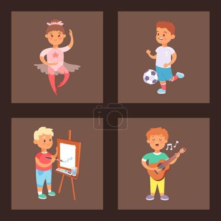 Illustration pour Enfants jouant vecteur différents types de jeux à la maison les petits enfants jouent été loisirs actifs de plein air. Ensemble vectoriel de jeunes amis de groupe activité de l'enfance. Enfants jouant à des jeux . - image libre de droit