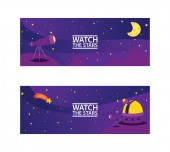 Watch the stars banners Journey to space with stars comets and planets vector illustration for cosmic party or for space exploration program Discovering space with telescope