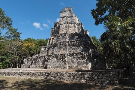 Ancient maya building at Muyil (Chunyaxch) Archaeological site, Quintana Roo, Mexico