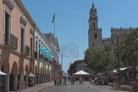 MERIDA, MEXICO-MARCH 18, 2018: plaza de la independencia the street festival merida en domingo, merida, mexico