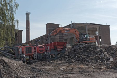 HATTERSHEIM AM MAIN-OKRIFTEL, GERMANY-AUGUST 17, 2018: rebuilding and partial demolition of an old former paper mill.