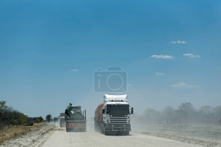 KAZUNGULA, BOTSWANA-NOVEMBER 17, 2018: Truck on a dirt gravel road in Botswana