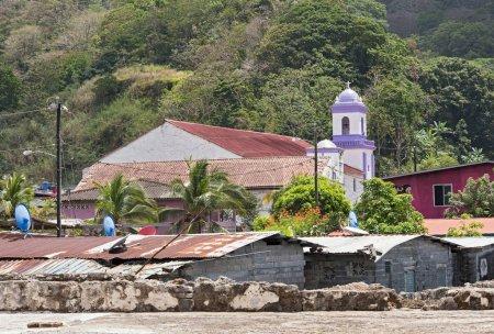 Photo for Houses in Portobelo with the church San Felipe Panama - Royalty Free Image