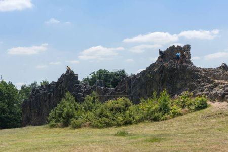 Photo for ESCHBACHER KLIPPEN, GERMANY-JUNE 22, 2020: people climbing in the Eschbacher Klippen, Taunus, Hesse, Germany - Royalty Free Image