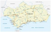 road vector map of the autonomous community of andalusia spain