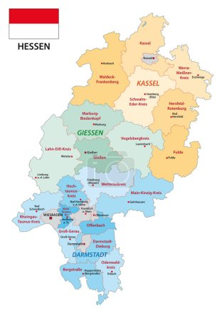 Hesse administrative and political vector map with...