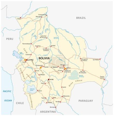 Illustration pour Bolivie carte vectorielle avec les grandes villes et les routes . - image libre de droit