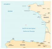bay of biscaya vector map france spain