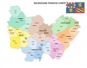 administrative map of the new french region Bourgogne-Franche-Comte