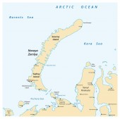 Map of the archipelago Nova Zemlya in the Arctic Ocean in northe
