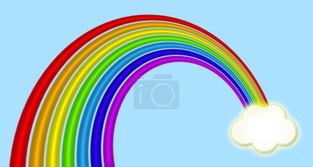 Photo for A vibrant rainbow design ending in a distant cloud  on a sky blue background. - Royalty Free Image