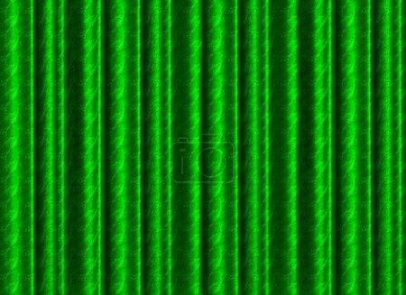 Photo pour Un rideau de soie vert plissé avec motif rose dentelle pour une utilisation comme toile de fond, fond ou texture . - image libre de droit