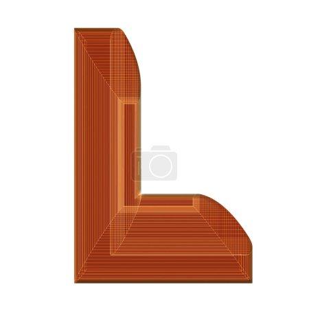 Photo pour La lettre L en brun avec un design de wireframe distinctif - image libre de droit