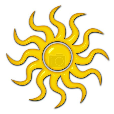Photo for A shiny yellow sun design isolated on white for use as a design element - Royalty Free Image